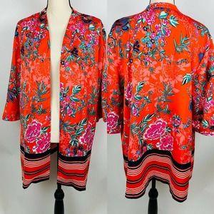 Jessica London Red Floral Tunic Kimono 16W